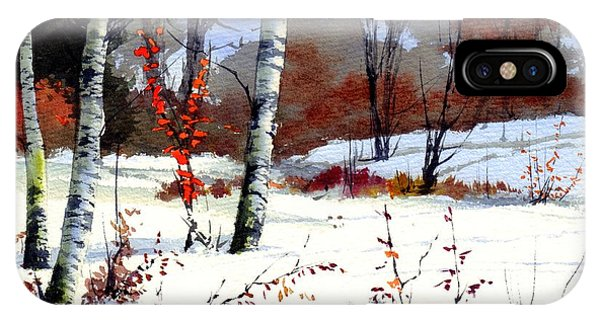Sparrow iPhone Case - Wintertime Painting by Suzann's Art