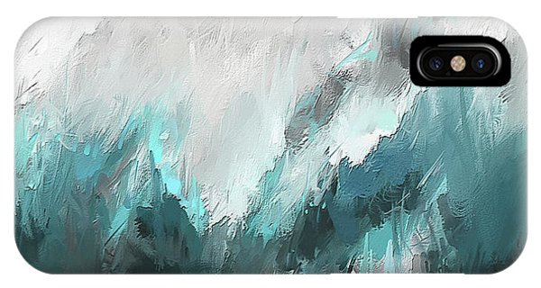 Cobalt Blue iPhone Case - Wintery Mountain- Turquoise And Gray Modern Artwork by Lourry Legarde