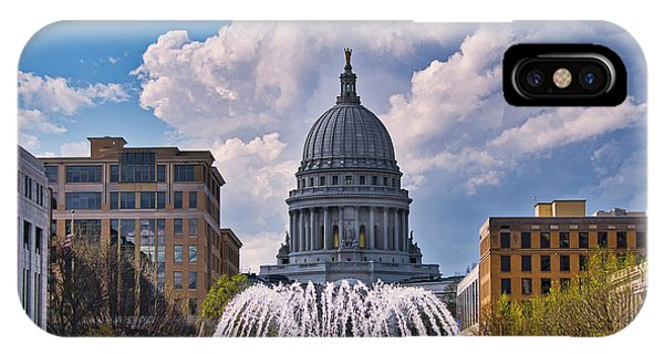 Wisconsin  Capitol And Fountain  IPhone Case
