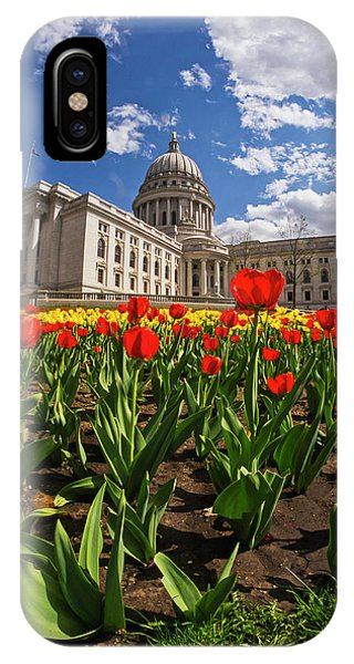 Wisconsin Capitol And Tulips 3 IPhone Case