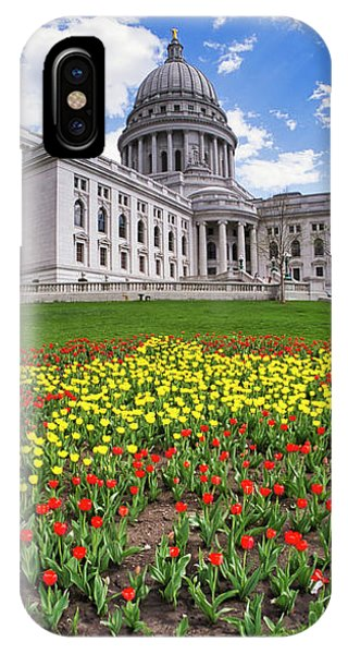 Wisconsin Capitol And Tulips IPhone Case