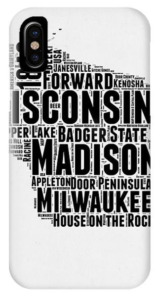 Wisconsin Word Cloud Map 2 IPhone Case
