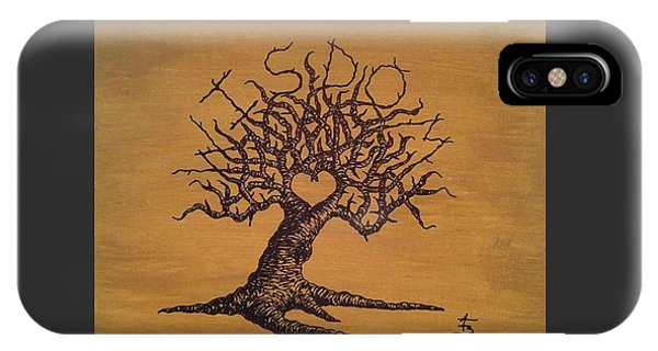 IPhone Case featuring the drawing Wisdom Love Tree by Aaron Bombalicki