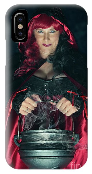 Cauldron iPhone Case - Witch And Her Cauldron by Amanda Elwell