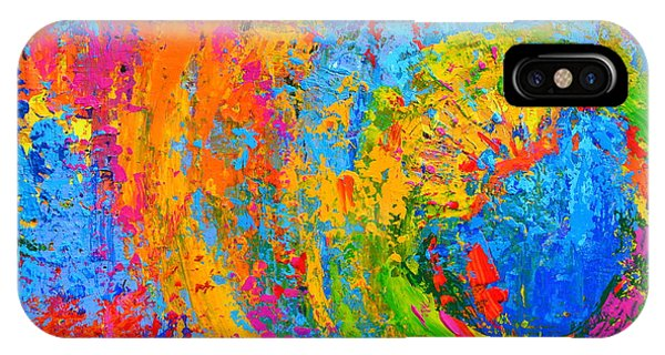 Within Circles 2 - Colorful Modern Abstract  Painting Palette Knife Work IPhone Case