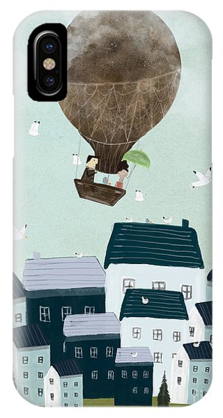 Hot Air Balloons iPhone Case - With The Birds by Bri Buckley