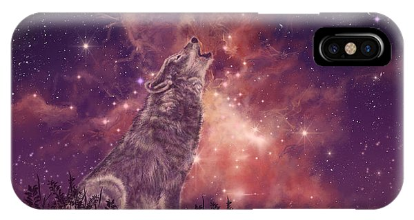 Background iPhone Case - Wolf And Sky Red by Bekim Art