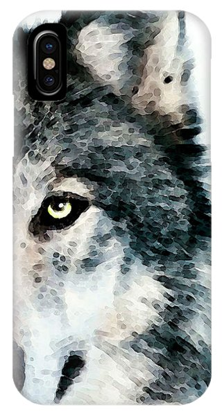 Eyes iPhone Case - Wolf Art - Timber by Sharon Cummings