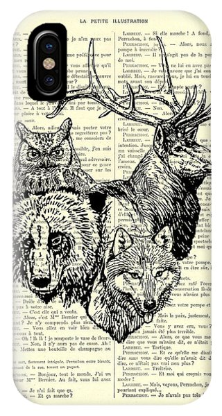 Stag iPhone Case - Wolf, Bear, Deer, Owl Wildlife Animals Black And White by Madame Memento