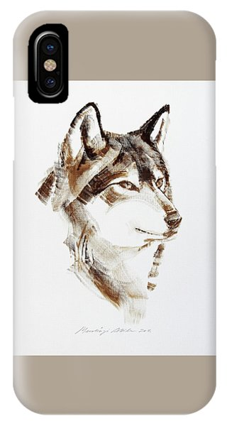 Wolf Head Brush Drawing IPhone Case