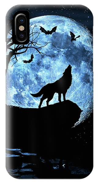 Wolf Howling At Full Moon With Bats IPhone Case