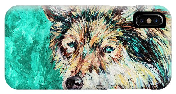Wolf In Turquoise IPhone Case