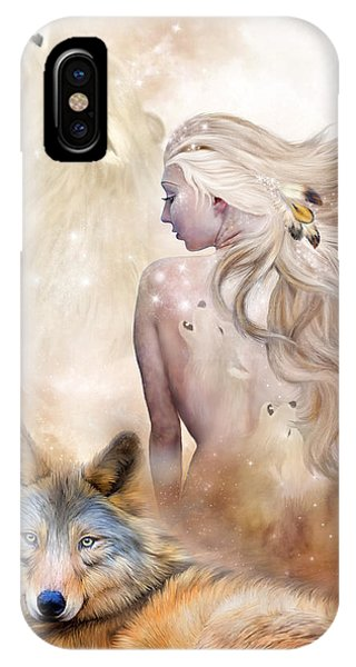 Moon iPhone Case - Wolf Moon Goddess by Carol Cavalaris