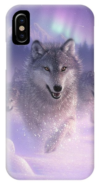 Wolf Pack Running - Northern Lights IPhone Case