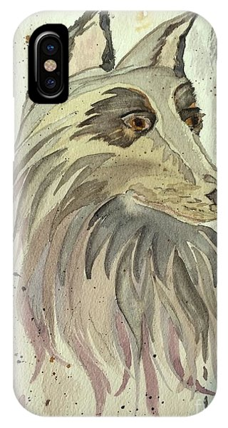 IPhone Case featuring the painting Wolfie by Denise Tomasura