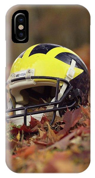 Wolverine Helmet In October Leaves IPhone Case