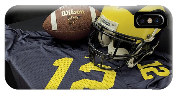 Wolverine Helmet With Football And Jersey IPhone Case