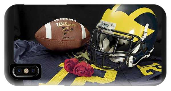 Wolverine Helmet With Roses, Jersey, And Football IPhone Case