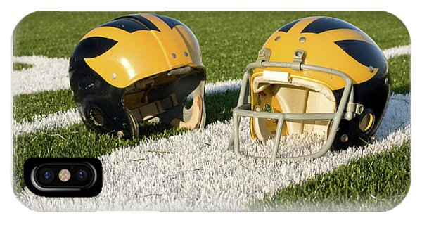 Wolverine Helmets From Different Eras On The Field IPhone Case