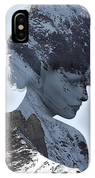 Woman And A Snowy Mountain IPhone Case