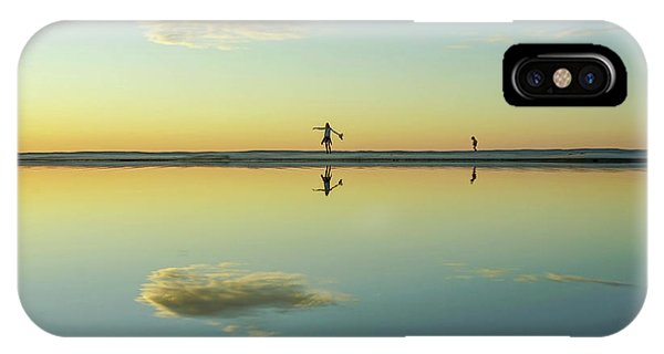 Woman And Cloud Reflected On Beach Lagoon At Sunset IPhone Case