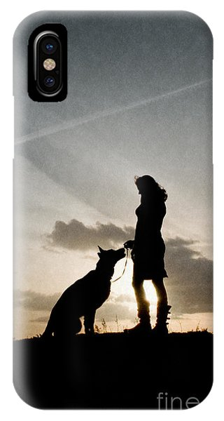 Woman And Dog  IPhone Case