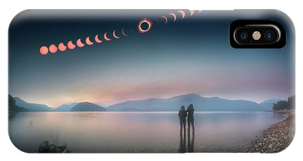 Woman And Girl Standing In Lake Watching Solar Eclipse IPhone Case