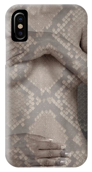 Woman Covering Her Breasts IPhone Case