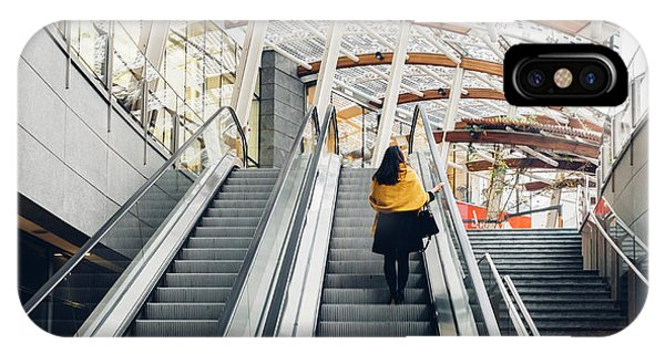 Woman Going Up Escalator In Milan, Italy IPhone Case