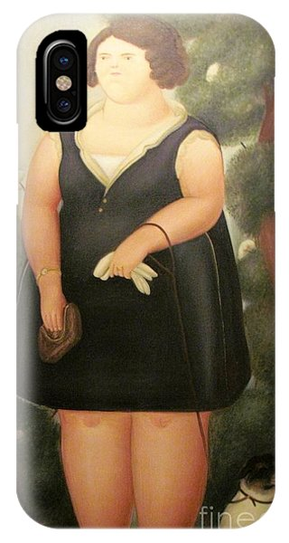 woman in Black Botero IPhone Case