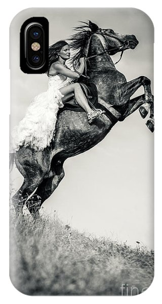 IPhone Case featuring the photograph Woman In Dress Riding Chestnut Black Rearing Stallion by Dimitar Hristov