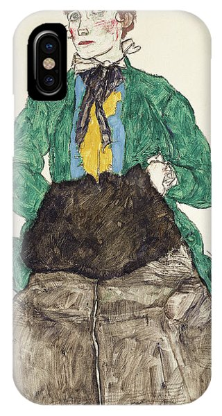Frau iPhone Case - Woman In Green Blouse With Muff by Egon Schiele