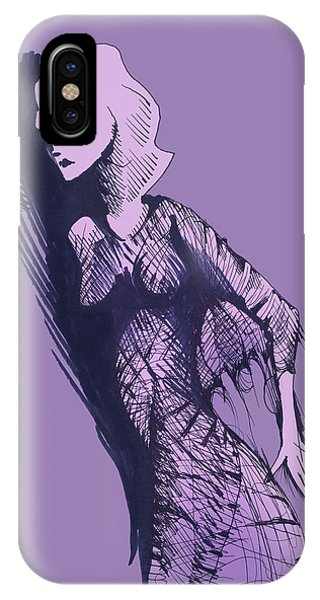 IPhone Case featuring the drawing Woman In Shadows by Keith A Link