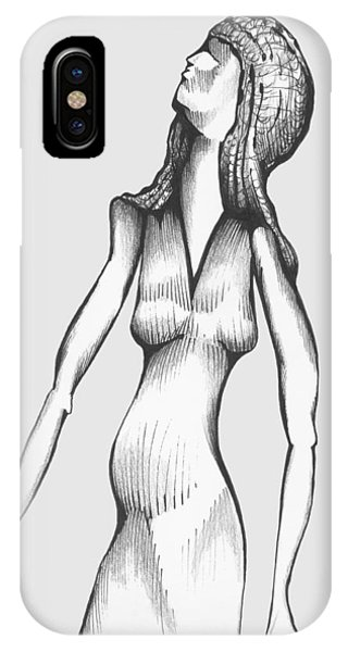 IPhone Case featuring the drawing Woman Looking To The Sky by Keith A Link