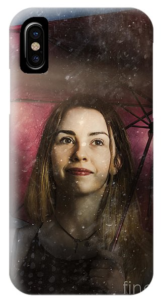 Woman Resilient In Storm Through Positive Thinking IPhone Case
