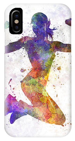 Inspirational iPhone Case - Woman Runner Jogger Jumping Powerful by Pablo Romero