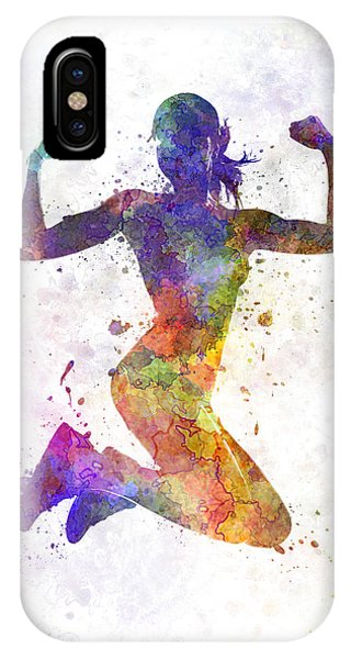 Workout iPhone Case - Woman Runner Jogger Jumping Powerful by Pablo Romero