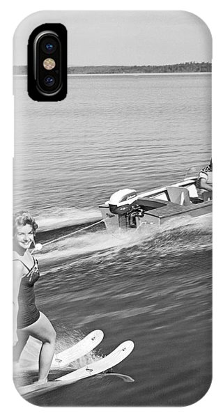 Powerboat iPhone Case - Woman Water Skiing by Underwood Archives