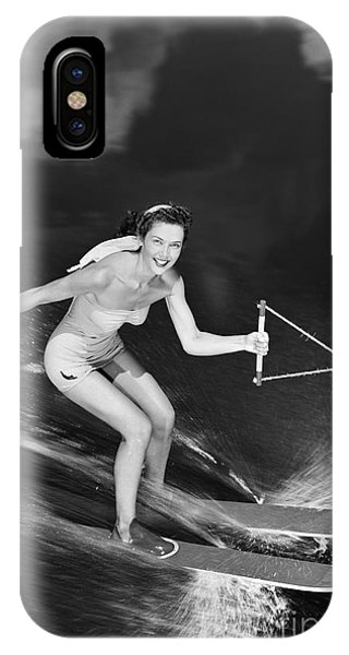 Water Ski iPhone Case - Woman Waterskiing by H. Armstrong Roberts/ClassicStock