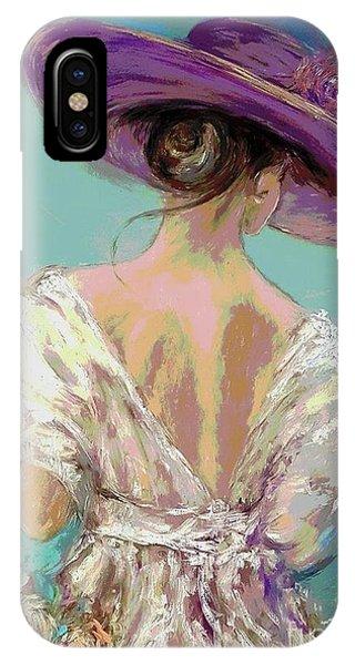 Woman Wearing A Purple Hat IPhone Case