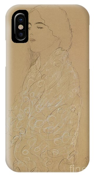 Pastel Pencil iPhone Case - Woman With A White Shawl  by Gustav Klimt