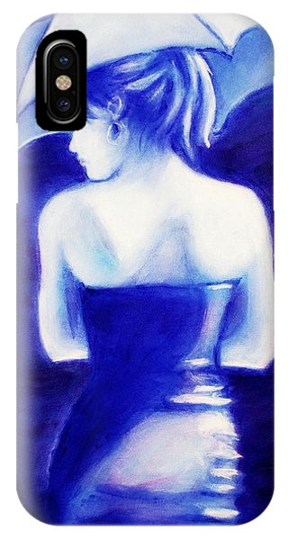 Woman With An Umbrella Blue IPhone Case