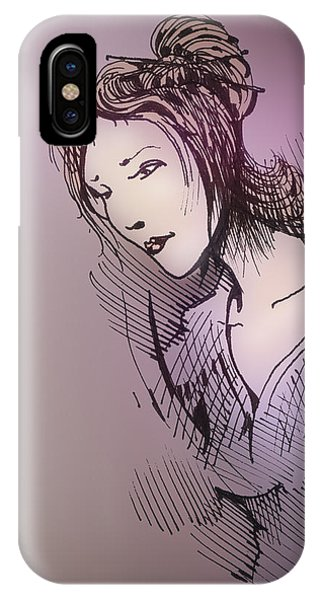 IPhone Case featuring the drawing Woman With Chopsticks In Her Hair by Keith A Link