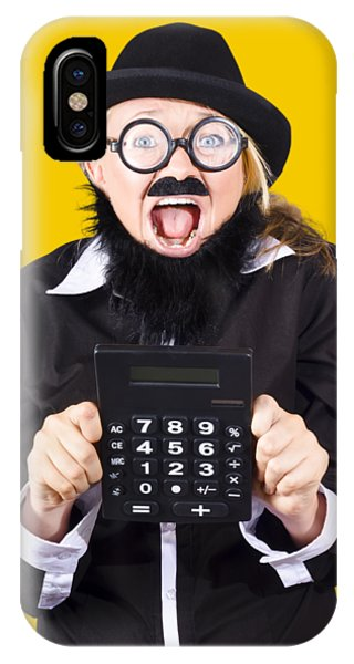 Finance iPhone Case - Woman With Electronic Calculator by Jorgo Photography - Wall Art Gallery