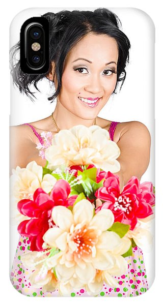 Woman With Flower Arrangement. Valentines Day Gift IPhone Case