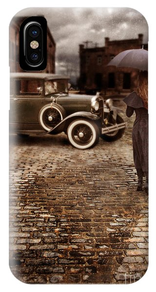Woman With Umbrella By Vintage Car IPhone Case