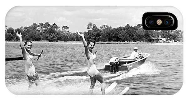 Powerboat iPhone Case - Women Water Skiers Waving by Underwood Archives