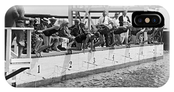 100 iPhone Case - Women's Swimming Championship by Underwood Archives