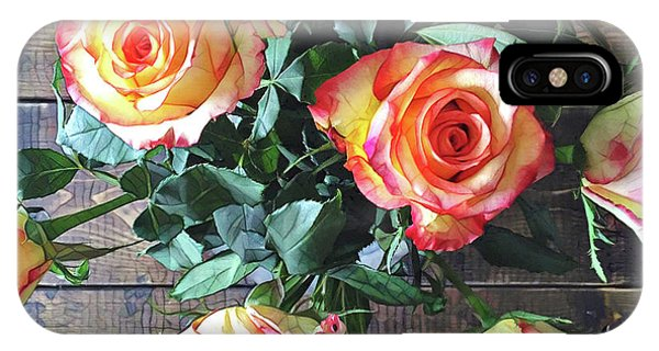 Peach iPhone Case - Wood And Roses by Shadia Derbyshire