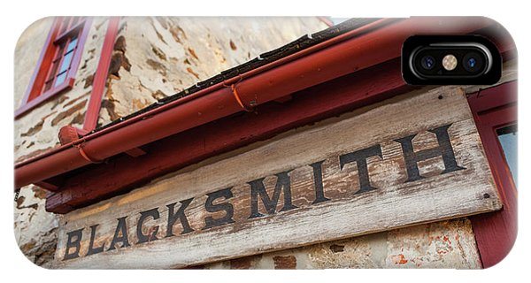 Wood Blacksmith Sign On Building IPhone Case